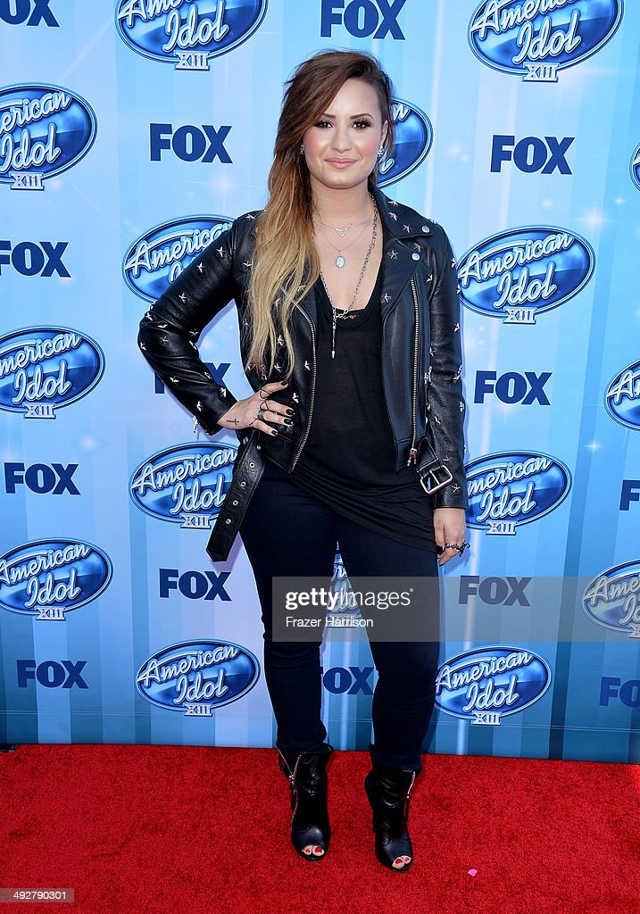 Singer <a gi-track='captionPersonalityLinkClicked' href=/galleries/search?phrase=Demi+Lovato&family=editorial&specificpeople=4897002 ng-click='$event.stopPropagation()'>Demi Lovato</a> attends Fox's 'American Idol' XIII Finale at Nokia Theatre L.A. Live on May 21, 2014 in Los Angeles, California.