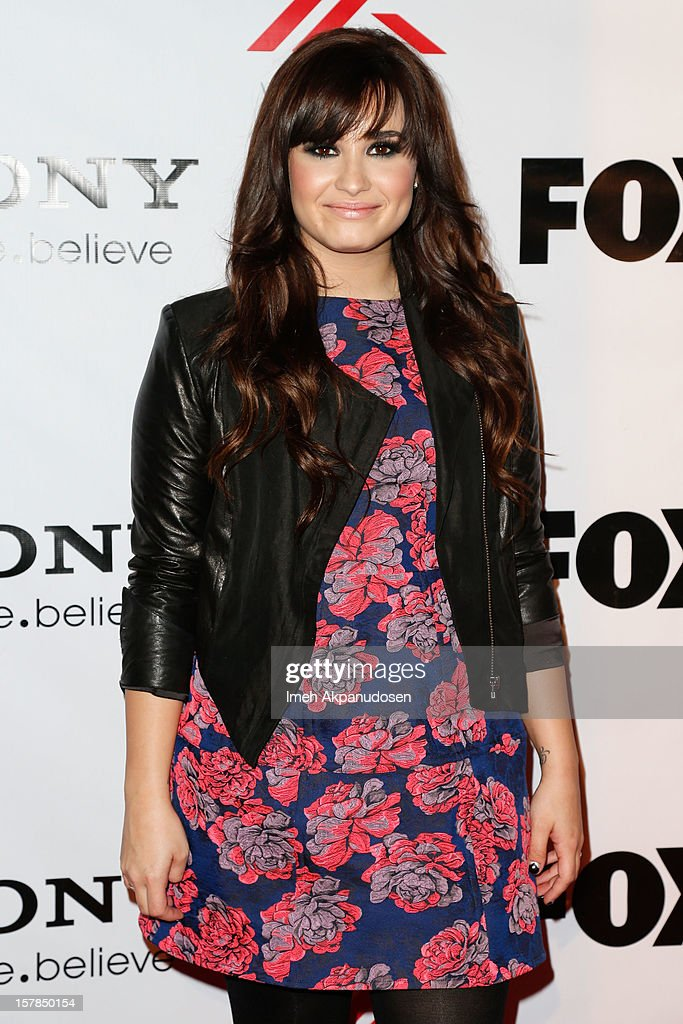 Singer <a gi-track='captionPersonalityLinkClicked' href=/galleries/search?phrase=Demi+Lovato&family=editorial&specificpeople=4897002 ng-click='$event.stopPropagation()'>Demi Lovato</a> attends Fox's 'The X Factor' viewing party at Mixology101 & Planet Dailies on December 6, 2012 in Los Angeles, California.
