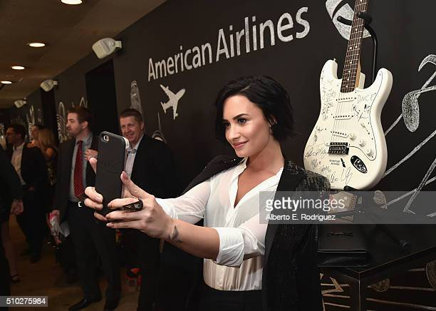 Singer Demi Lovato attends Lucian Grainge's 2016 Artist Showcase Presented by American Airlines and Citi at The Theatre at Ace Hotel Downtown LA on...