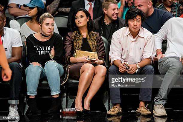 Singer Demi Lovato attends the 2016 Roc Nation Summer Classic Charity Basketball Tournament at Barclays Center of Brooklyn on July 21 2016 in New...