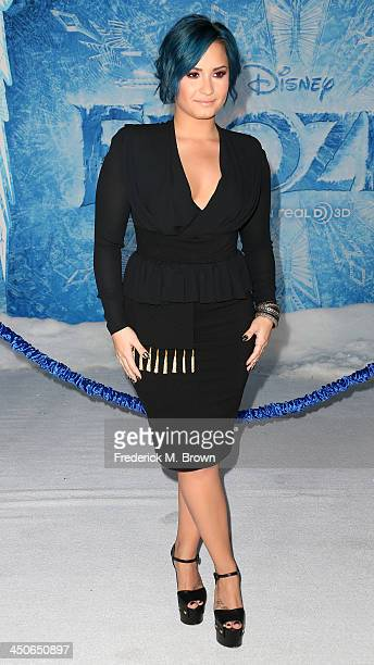 Singer Demi Lovato attends the Premiere of Walt Disney Animation Studios' 'Frozen' at the El Capitan Theatre on November 19 2013 in Hollywood...