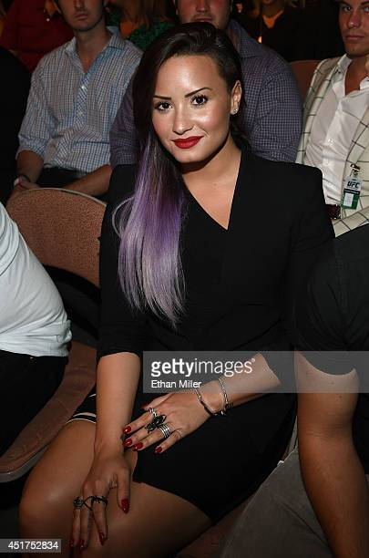 Singer/songwriter and actress Demi Lovato attends the UFC 175 event at the Mandalay Bay Events Center on July 5 2014 in Las Vegas Nevada