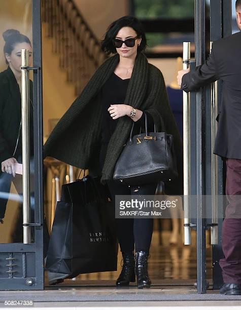 Singer Demi Lovato is seen on February 3 2016 in Los Angeles California