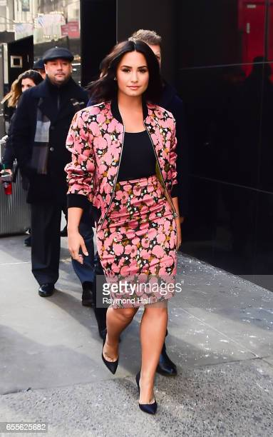 Singer Demi Lovato is seen walking in outside 'Good Morning America' on March 20 2017 in New York City