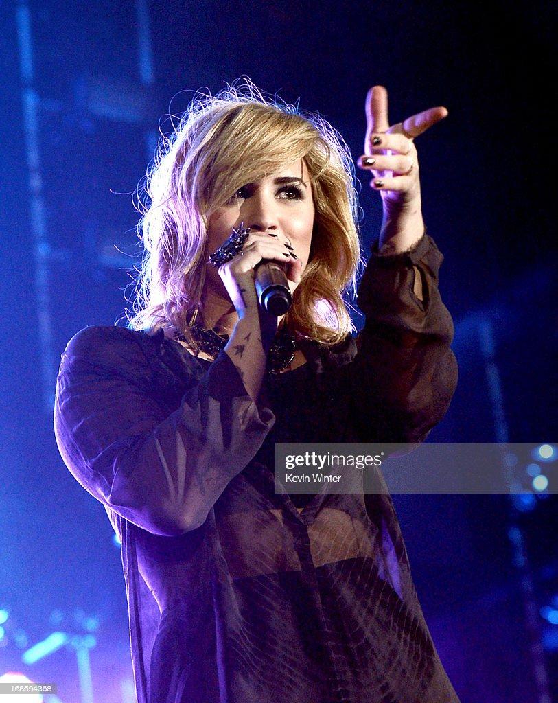 Singer Demi Lovato performs at 102.7 KIIS FM's Wango Tango on May 11, 2013 in Carson, California.