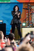 Singer Demi Lovato performs on ABC's 'Good Morning America' at SummerStage at Rumsey Playfield Central Park on June 17 2016 in New York City