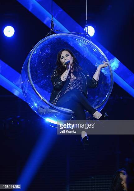 Singer Demi Lovato performs on stage at 'VH1 Divas' 2012 at The Shrine Auditorium on December 16 2012 in Los Angeles California