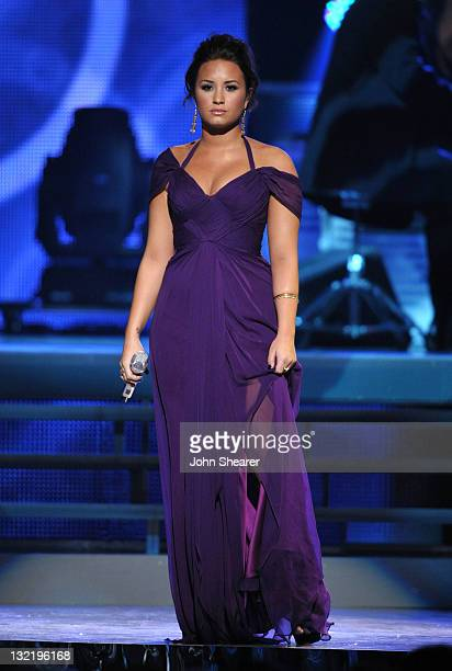 Singer Demi Lovato performs onstage at the 12th Annual Latin GRAMMY Awards held at the Mandalay Bay Resort Casino on November 10 2011 in Las Vegas...