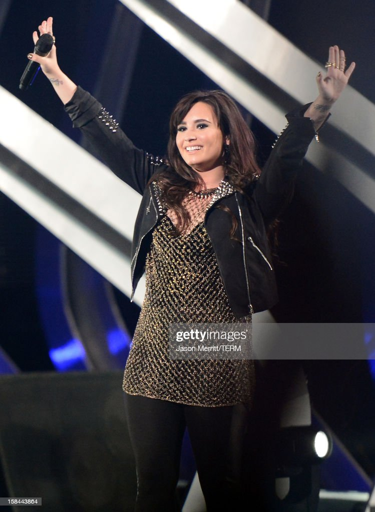 Singer <a gi-track='captionPersonalityLinkClicked' href=/galleries/search?phrase=Demi+Lovato&family=editorial&specificpeople=4897002 ng-click='$event.stopPropagation()'>Demi Lovato</a> performs onstage at 'VH1 Divas' 2012 held at The Shrine Auditorium on December 16, 2012 in Los Angeles, California.