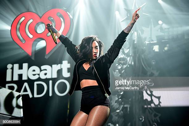 Singer Demi Lovato performs onstage during KISS 108's Jingle Ball 2015 presented by Capital One at TD Garden on December 10 2015 in Boston Mass