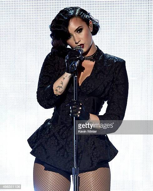 Singer Demi Lovato performs onstage during the 2015 American Music Awards at Microsoft Theater on November 22 2015 in Los Angeles California