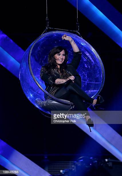 Singer Demi Lovato performs onstage during 'VH1 Divas' 2012 at The Shrine Auditorium on December 16 2012 in Los Angeles California