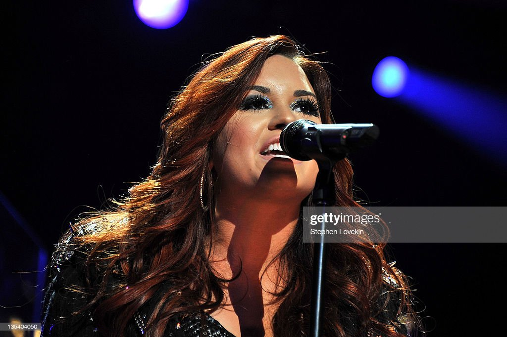 Singer Demi Lovato performs onstage during Z100's Jingle Ball 2011 presented by Aeropostale at Madison Square Garden on December 9 2011 in New York...