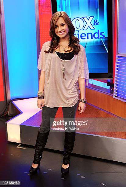 Singer Demi Lovato visits 'FOX Friends' at the FOX studios on August 18 2010 in New York City