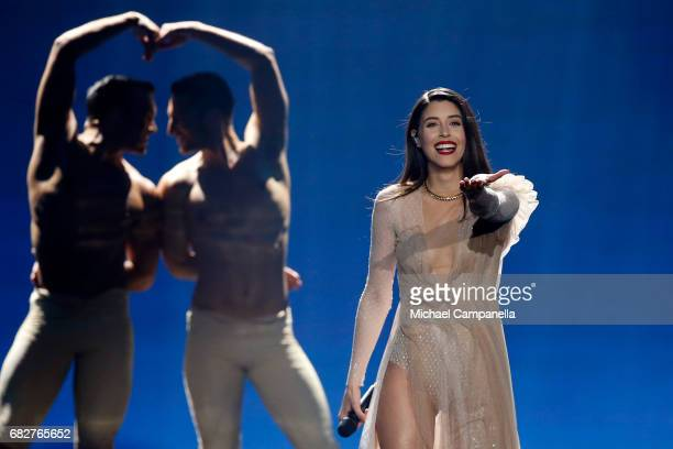 Singer Demy representing Greece performs the song 'This Is Love' during the final of the 62nd Eurovision Song Contest at International Exhibition...