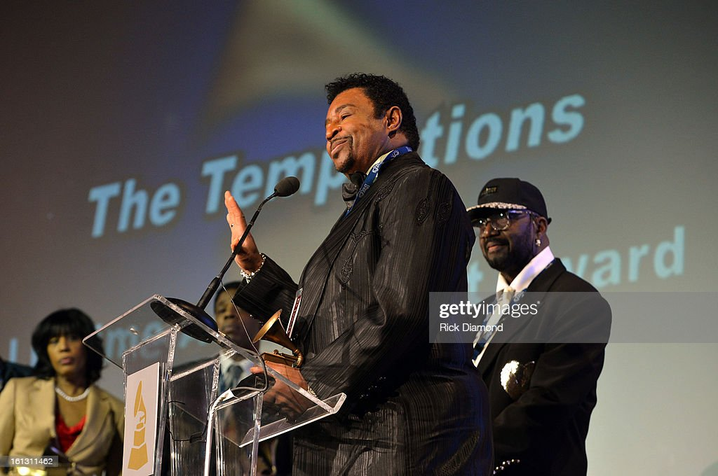 Singer Dennis Edwards of The Temptations speaks onstage during the Special Merit Awards Ceremony during the 55th Annual GRAMMY Awards at the Wilshire Ebell Theater on February 9, 2013 in Los Angeles, California.