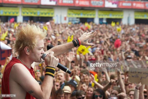 Singer Deryck Whibley of 'Sum 41' group performs at the 'Rock am Ring' music festival on June 3 2017 in Nuerburg Germany's biggest rock festival will...