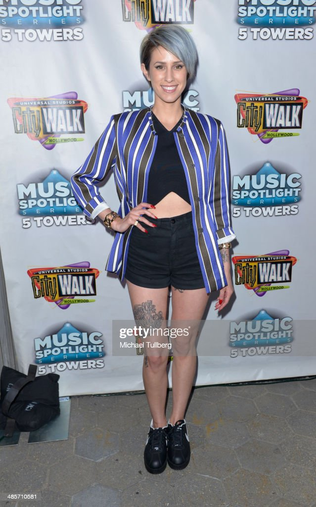 Singer Dev poses backstage as part of the 'Spring Concert Series' at 5 Towers Outdoor Concert Arena on April 19, 2014 in Universal City, California.