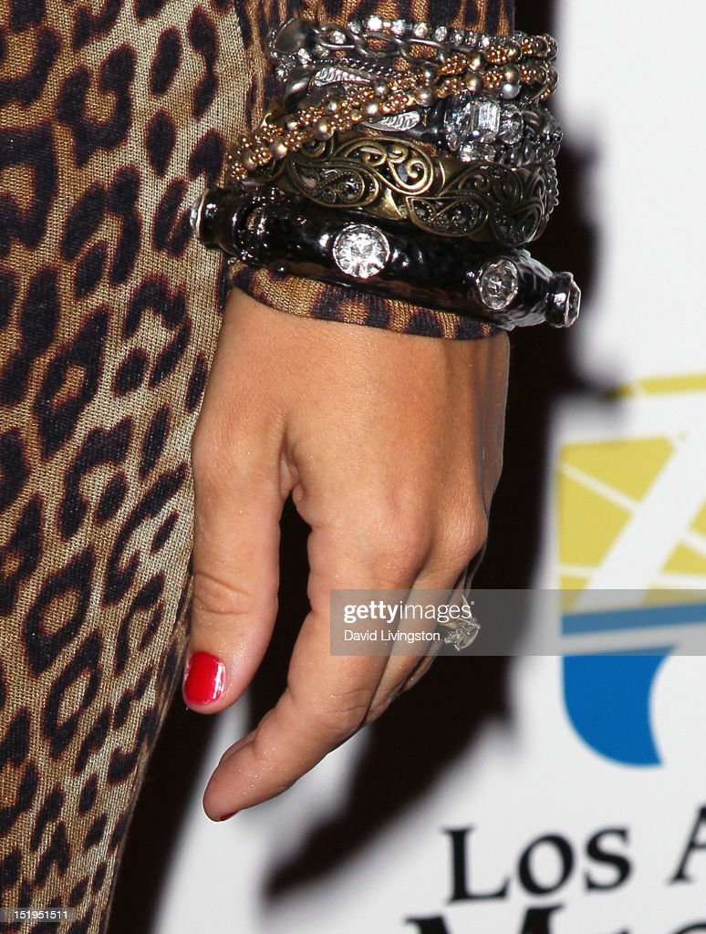 Singer <a gi-track='captionPersonalityLinkClicked' href=/galleries/search?phrase=Diana+DeGarmo&family=editorial&specificpeople=171338 ng-click='$event.stopPropagation()'>Diana DeGarmo</a> (ring & bracelet detail) attends the Los Angeles Mission's 20th Anniversary Gala for the Anne Douglas Center for Women at the Four Seasons Hotel Los Angeles at Beverly Hills on September 12, 2012 in Beverly Hills, California.