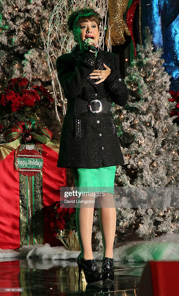 Singer Diana DeGarmo performs on stage at Associated Television International's 2012 Hollywood Christmas Parade Concert at Universal CityWalk's 5 Towers on November 20, 2012 in Universal City, California.