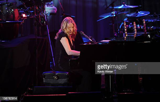 Singer Diana Krall performs onstage at Clive Davis and the Recording Academy's 2012 PreGRAMMY Gala and Salute to Industry Icons Honoring Richard...