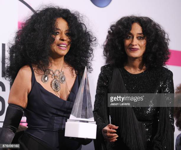 Singer Diana Ross and actress Tracee Ellis Ross pose in the press room at the 2017 American Music Awards at Microsoft Theater on November 19 2017 in...