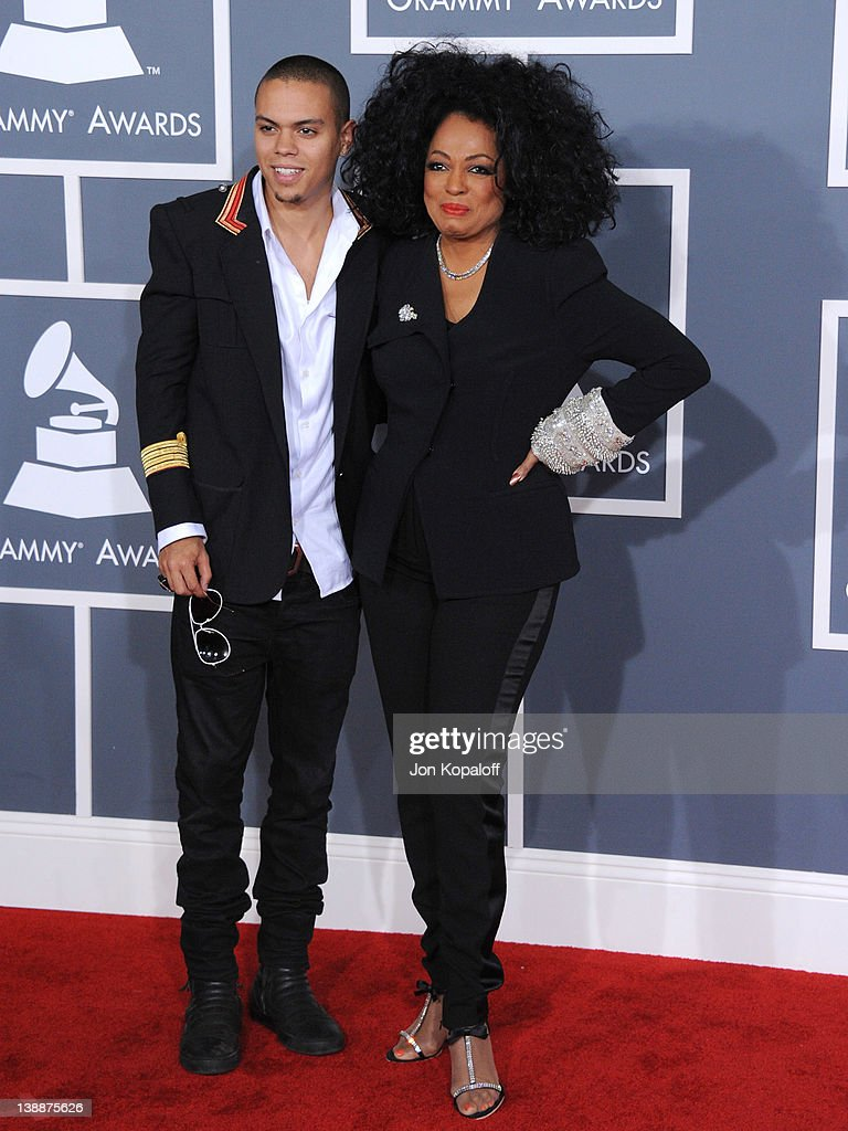 Singer Diana Ross (R) and Evan Ross arrive at 54th Annual GRAMMY Awards held the at Staples Center on February 12, 2012 in Los Angeles, California.