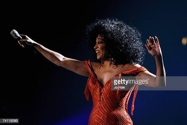 Singer Diana Ross performs at Wembley Arena as part of her UK tour to promote her latest album 'I Love You' on May 9 2007 in London England