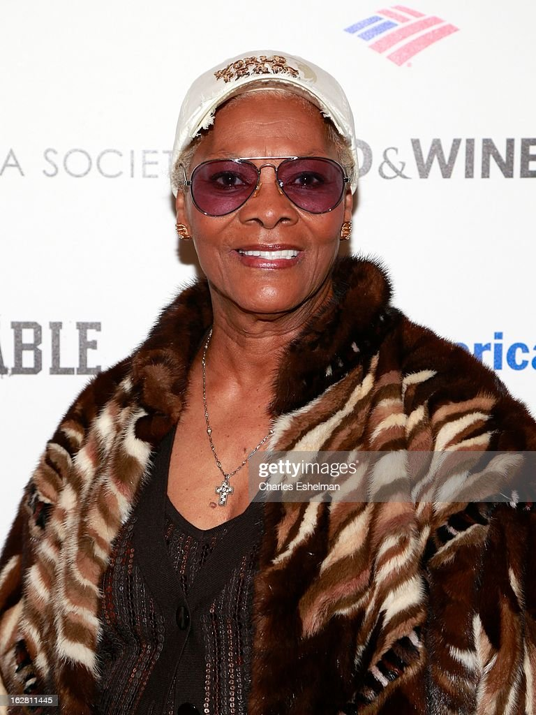Singer Dionne Warwick arrives at Bank of America and Food & Wine with The Cinema Society present a screening of 'A Place at the Table' at the Celeste Bartos Theater at the Museum of Modern Art on February 27, 2013 in New York City.