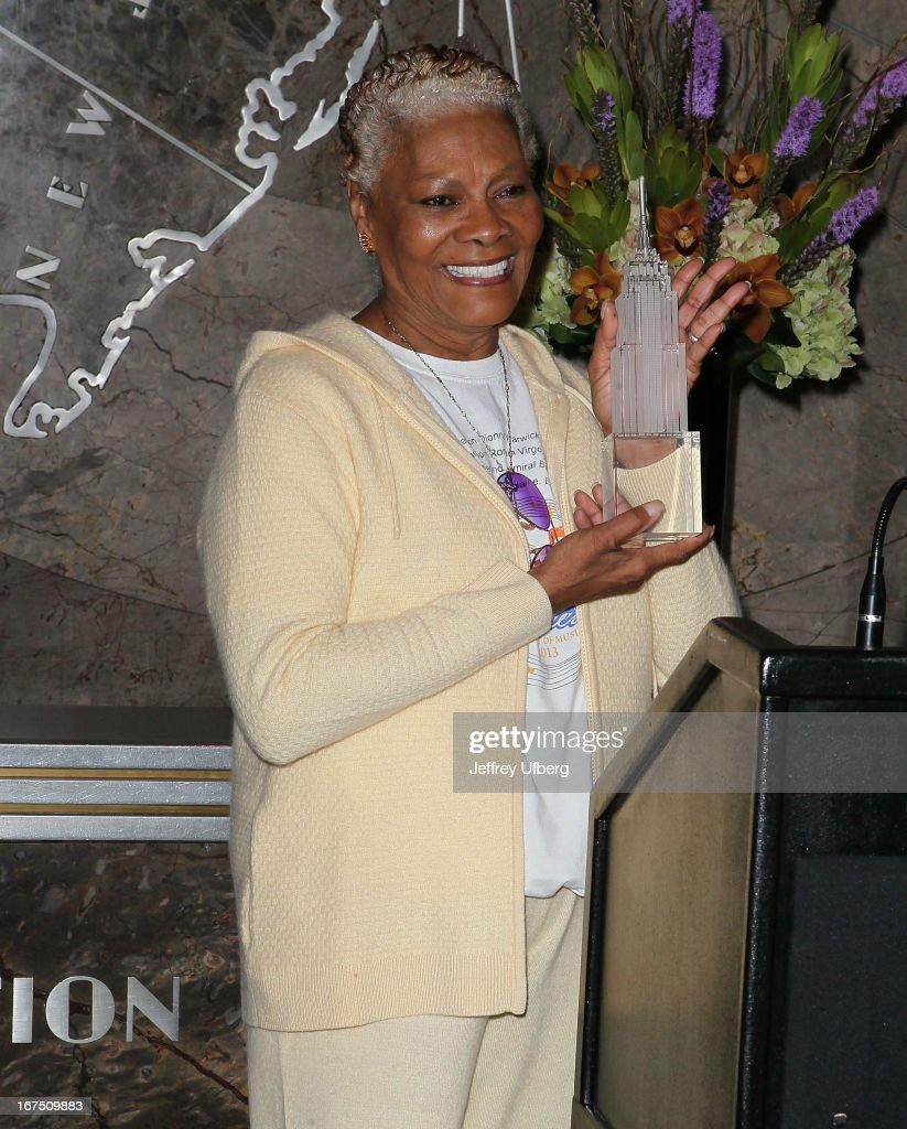 Singer Dionne Warwick lights the Empire State Building yellow in honor of the 10th annual Project Sunshine gala on April 25, 2013 in New York City.