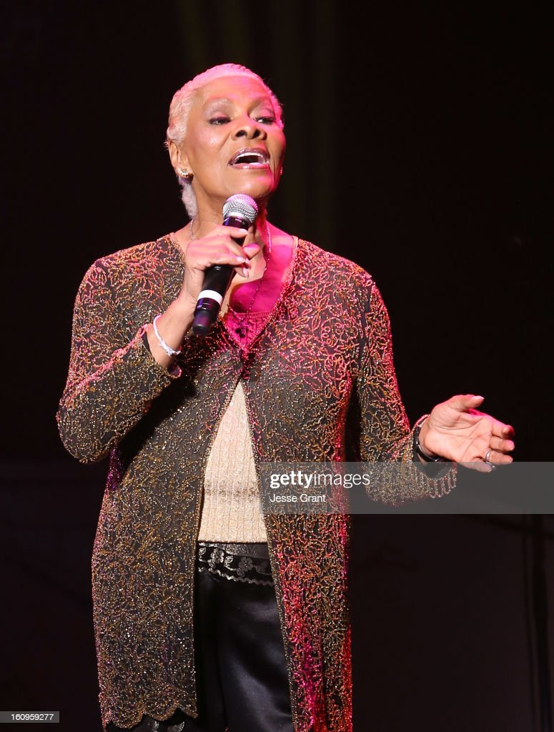 Singer <a gi-track='captionPersonalityLinkClicked' href=/galleries/search?phrase=Dionne+Warwick&family=editorial&specificpeople=213111 ng-click='$event.stopPropagation()'>Dionne Warwick</a> performs during The 55th Annual GRAMMY Awards - Music Preservation Project 'Play It Forward' Celebration highlighting The GRAMMY Foundations ongoing work to safegaurd music's history at the Saban Theatre on February 7, 2013 in Los Angeles, California.