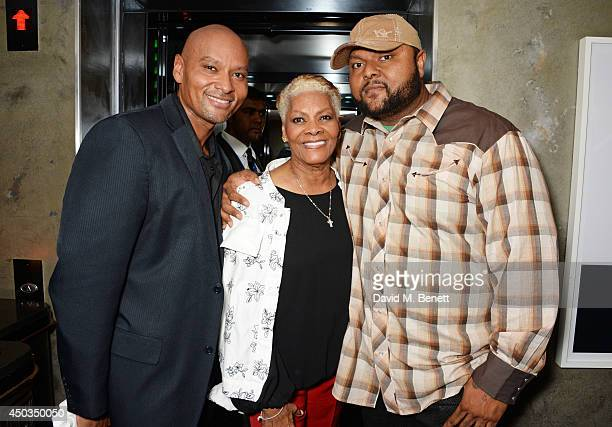 Singer Dionne Warwick poses with her sons David Elliott and Damon Elliott perform live at The Arts Club on June 9 2014 in London England