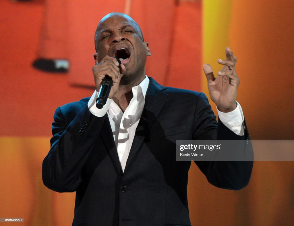 Singer <a gi-track='captionPersonalityLinkClicked' href=/galleries/search?phrase=Donnie+McClurkin&family=editorial&specificpeople=227367 ng-click='$event.stopPropagation()'>Donnie McClurkin</a> performs onstage during the BET Celebration of Gospel 2013 at Orpheum Theatre on March 16, 2013 in Los Angeles, California.