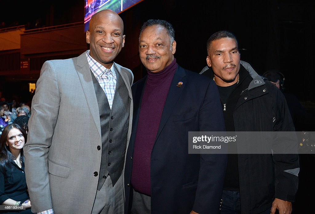 Singer Donnie McClurkin, Reverend Jesse Jackson and Executive Vice President and General Manager of Centric Paxton Baker attend the Super Bowl Gospel Celebration 2014 on January 31, 2014 in New York City.