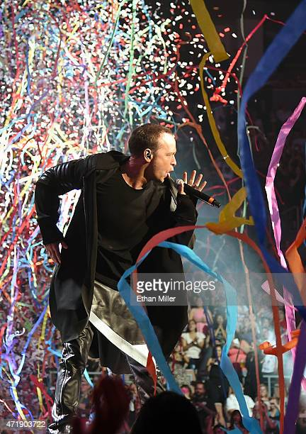 Singer Donnie Wahlberg of New Kids on the Block performs as confetti and streamers fall during the kickoff of The Main Event tour at the Mandalay Bay...