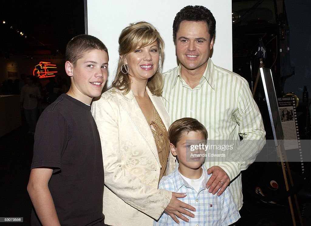 Singer Donny Osmond, his wife Debbie and their sons Chris (l) and Joshua (r) arrive at the Golden Dads Awards ceremony at the Peterson Automotive Museum on June 15, 2005 in Los Angeles, California.