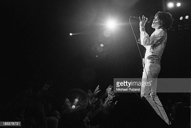 Singer Donny Osmond performing with American pop group The Osmonds during the British leg of their European tour October 1973