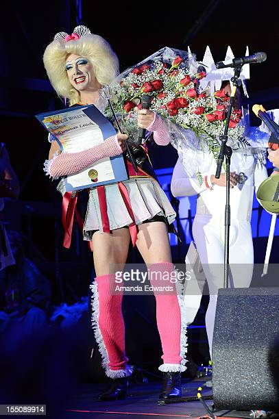 Singer Donovan Leitch and the cast of Hedwig and The Angry Inch perform onstage at The City of West Hollywood's 2012 Halloween Carnaval on October 31...
