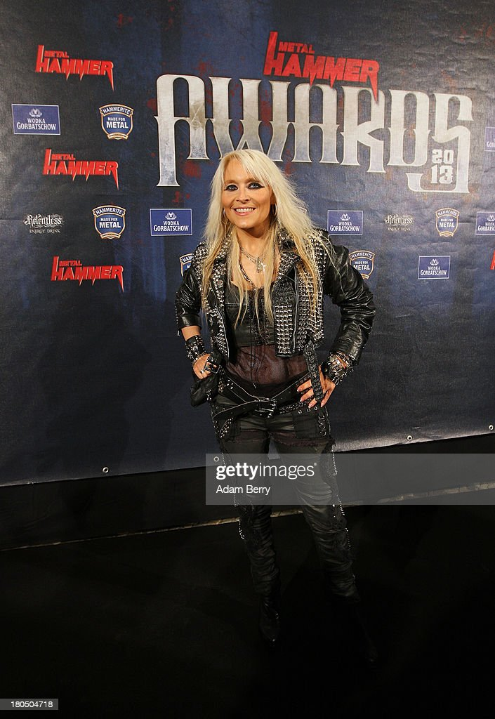 Singer Doro Pesch arrives for the fifth Metal Hammer Awards at Kesselhaus on September 13, 2013 in Berlin, Germany. The annual prizes are given by Metal Hammer, a German music magazine specialized in Heavy Metal and Hard Rock.