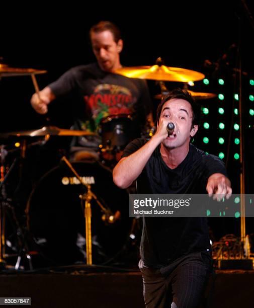 Singer Douglas Robb and drummer Chris Hesse of Hoobastank perform at the Wiltern on September 29 2008 in Los Angeles California