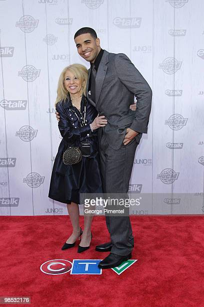 Singer Drake and mother Sandi Graham pose on CTV's Red Carpet at the 2010 Juno Awards at the Mile One Centre on April 18 2010 in Saint John's Canada