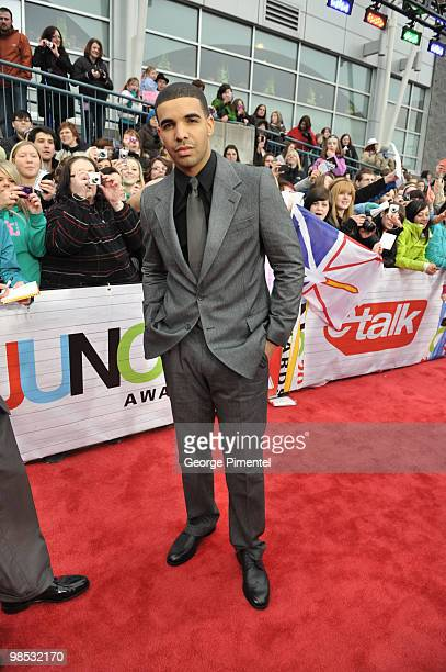 Singer Drake poses on CTV's Red Carpet at the 2010 Juno Awards at the Mile One Centre on April 18 2010 in Saint John's Canada