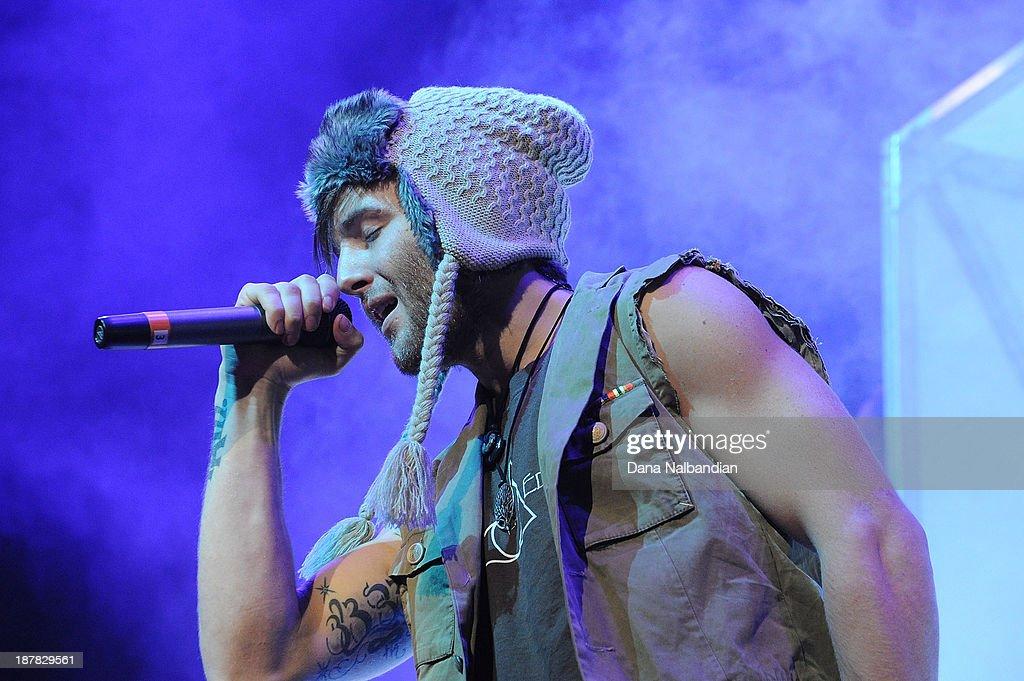 Singer Drew Chadwick of Emblem3 performs at Key Arena on November 12, 2013 in Seattle, Washington.