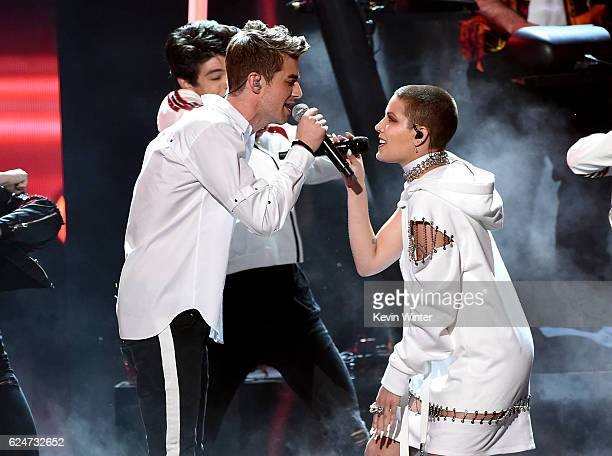 Singer Drew Taggart of The Chainsmokers and singer Halsey perform onstage during the 2016 American Music Awards at Microsoft Theater on November 20...