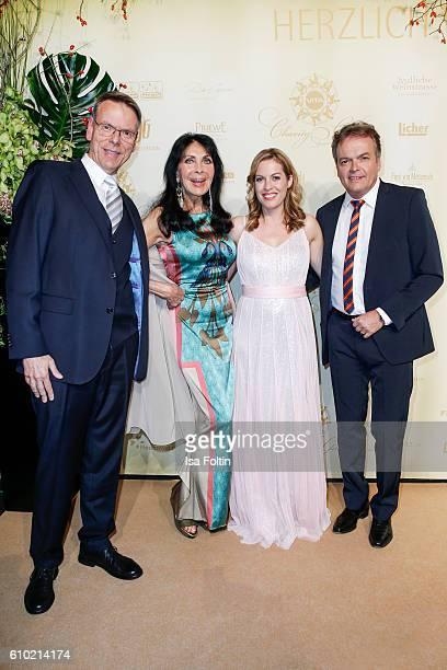 Singer Dunja Rajter with her husband Michael Eichler and german moderator Jule Goelsdorf attend the7th VITA Charity Gala in Wiesbaden on September 24...