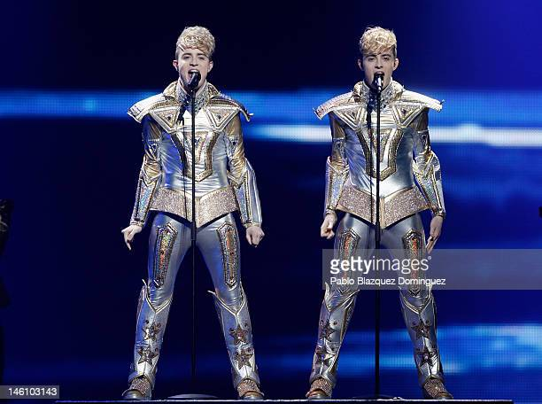 Singer Duo Jedward of Ireland performs during the grand final of the Eurovision Song Contest 2012 at Crytal Hall on May 27 2012 in Baku Azerbaijan