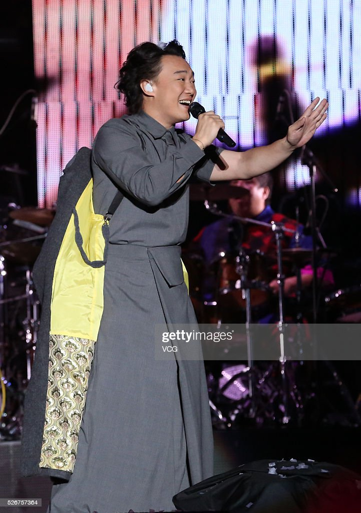 Singer Eason Chan performs onstage during his concert 'Another Eason's Life' on April 30, 2016 in Xiamen, Fujian Province of China.