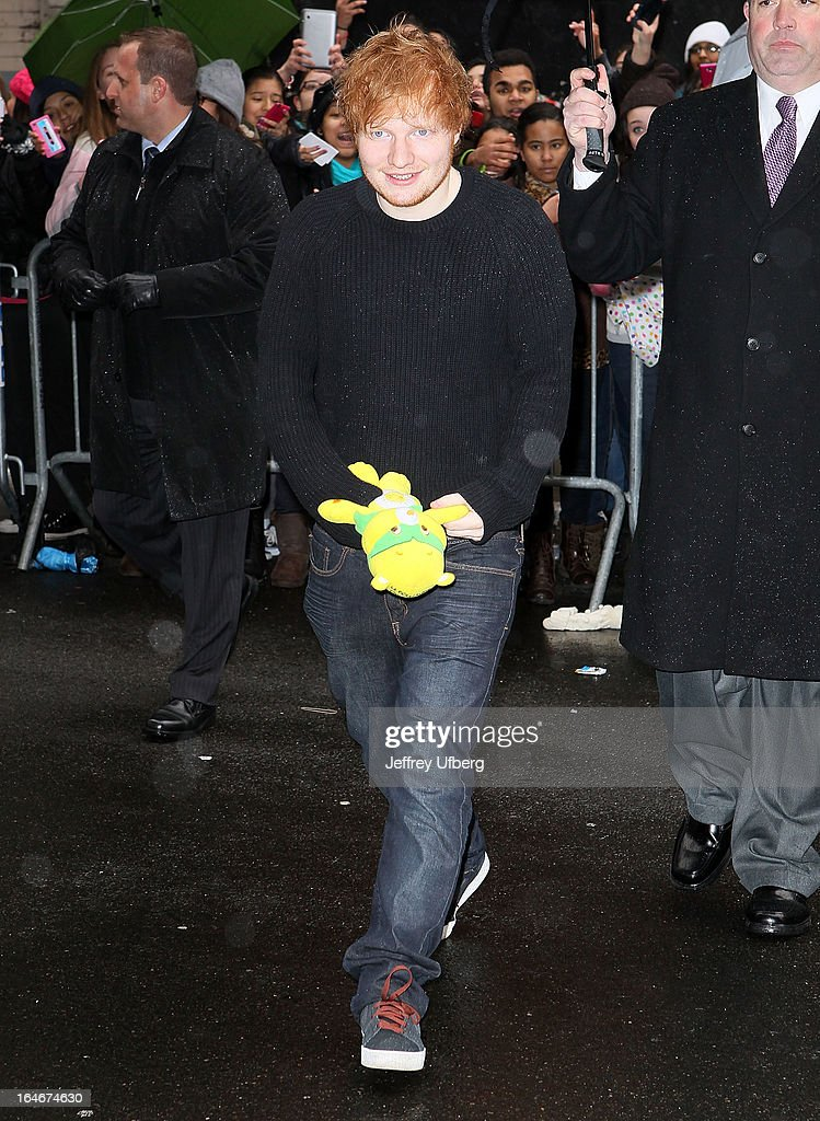 Singer Ed Sheeran arrives to 'Late Show with David Letterman' at Ed Sullivan Theater on March 25, 2013 in New York City.