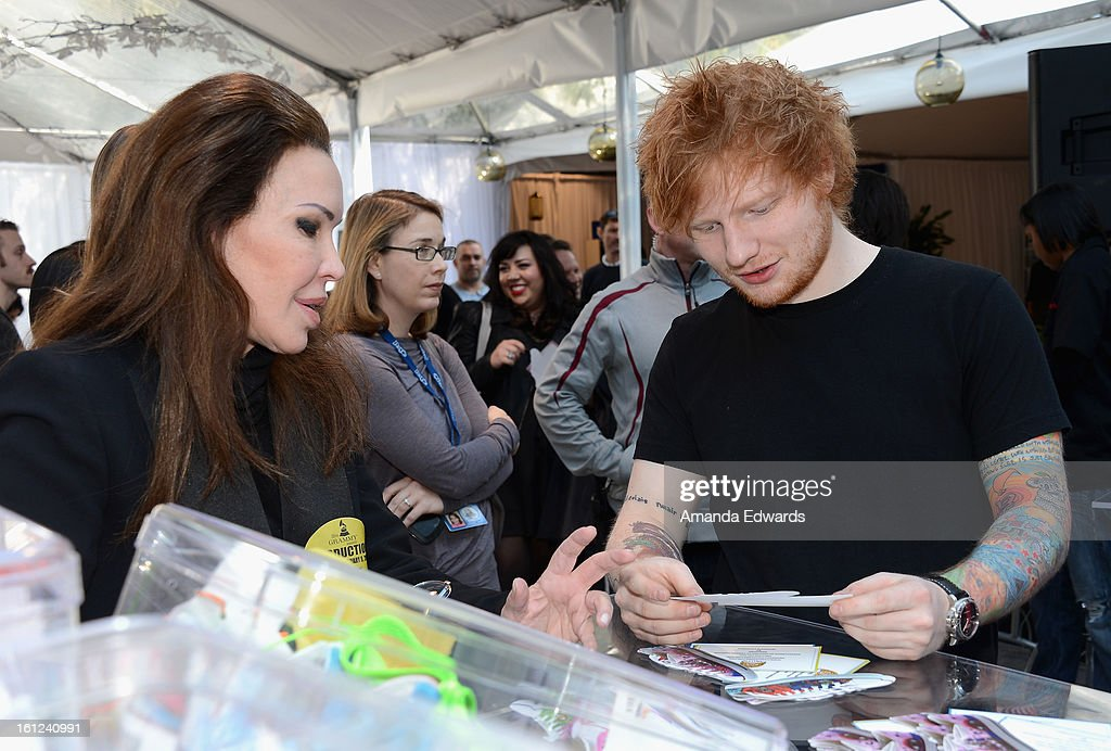 Singer Ed Sheeran attends the GRAMMY Gift Lounge during the 55th Annual GRAMMY Awards at STAPLES Center on February 9, 2013 in Los Angeles, California.