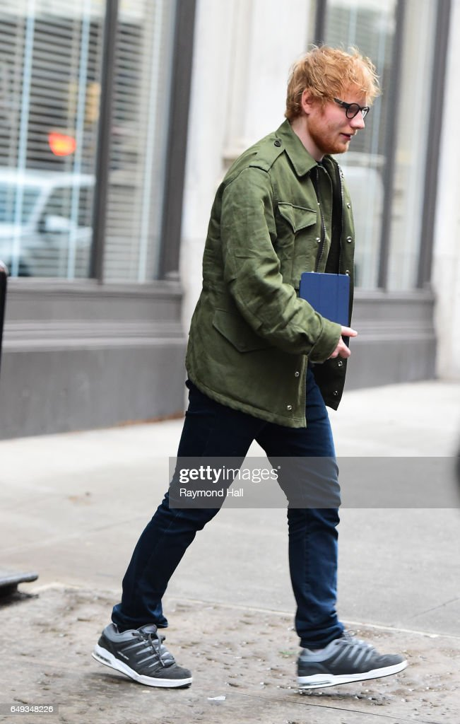Singer Ed Sheeran is seen outside Taylor Swift Home in Soho on March 7, 2017 in New York City.